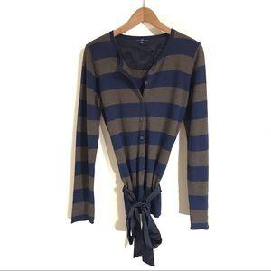 GAP Striped Cardigan With Silk Belt